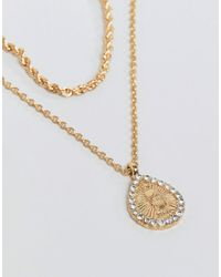 ASOS - Metallic Multirow Necklace With Crystal Teardrop Vintage Style Icon Pendant In Gold - Lyst