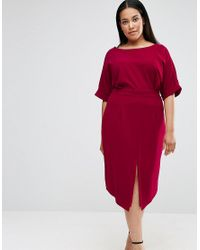 ASOS | Purple Wiggle Dress With Split Front | Lyst