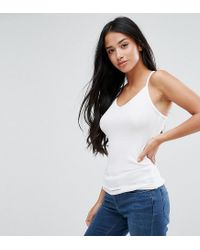 ASOS - White Cami With Skinny Straps In Rib - Lyst