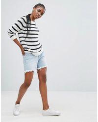 ONLY - Blue Stripe Knit Boat Neck Jumper - Lyst