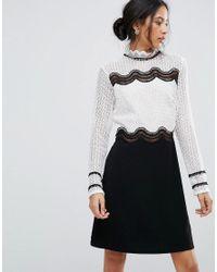 58ddde737b92 Amy Lynn High Neck Monochrome Lace Shift Dress in Black - Lyst