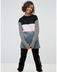 ASOS - Multicolor T-shirt With Color Block And Stripe Panels And Superlong Sleeves - Lyst