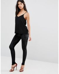 Club L - Black Crushed Velvet Leggings - Lyst