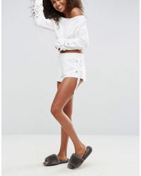 ASOS - White Lounge Short With Lace Up Detail - Lyst