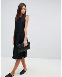 YMC - Black Pleat Wool Blend Dress - Lyst