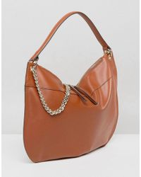 Fiorelli - Brown Oversized Hobo Shoulder Bag In Tan With Chain Detail - Lyst