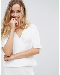 French Connection - White Arrow Crepe Wrap Top - Lyst
