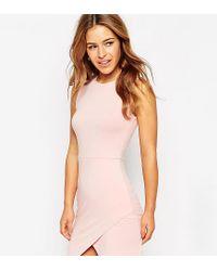 ASOS - Pink Asymmetric Sleeveless Bodycon Dress - Lyst