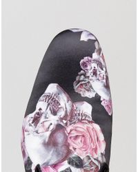 ASOS | Loafers In Black Satin With Rose And Skull Print | Lyst