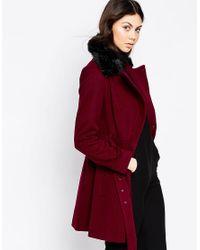 ASOS - Black Petite Skater Coat With Faux Fur Collar - Lyst
