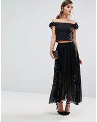 a4a1c783704 Coast Amira Lace Pleat Skirt in Black - Lyst