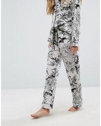 Glamorous - Green Bamboo Print Satin Long Pyjama Bottom - Lyst