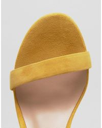 ALDO - Yellow Myly Suede Barely There Block Heeled Sandals - Lyst