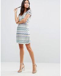 Traffic People - Blue Striped Short Sleeve Midi Dress - Lyst