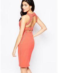 Forever Unique - Orange Creek Midi Dress With Crochet Applique - Lyst