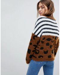 ONLY - Brown Leopard & Stripe Knit Jumper - Lyst