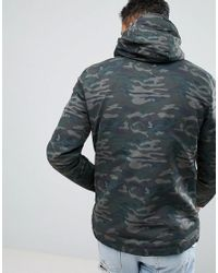 Pull&Bear - Green Hooded Jacket In Camo for Men - Lyst