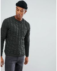 ASOS - Green Quilted Jumper In Khaki for Men - Lyst