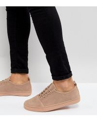 ASOS - Asos Wide Fit Lace Up Trainers In Pink Suede for Men - Lyst