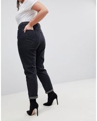 Liquor N Poker - Black Boyfriend Jean With Stepped Hem And Rose Embroidery - Lyst