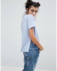 ASOS - Blue T-shirt With Dip Back - Lyst