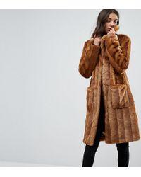 Lyst - Manteau mi-long en fausse fourrure Asos en coloris Marron 59ad8761f8b8