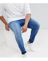 ASOS - Design Plus Super Spray On Jeans In Mid Blue for Men - Lyst
