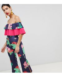 True Violet - Multicolor Double Frill Culotte Jumpsuit With Split - Lyst