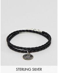 ASOS - Black Bracelet With Sterling Silver St Christopher Pendant for Men - Lyst