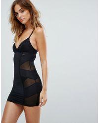 New Look   Black Solutions Shaping Slip Dress   Lyst