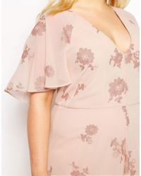 ASOS - Multicolor Flutter Sleeve Maxi Dress With Pretty Lurex Flower - Lyst