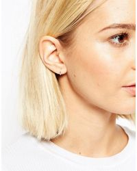 ASOS - Metallic Sterling Silver Mini Hoop Earrings - Lyst
