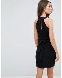 ASOS - Black Slinky Dress With Wrap Waist - Lyst