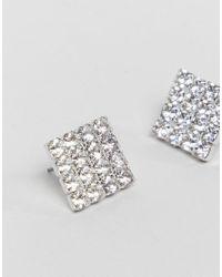 Krystal London - Metallic Swarovski Crystal Square Stud Earrings - Lyst
