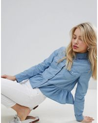 Urban Bliss - Blue Peplum Denim Shirt - Lyst