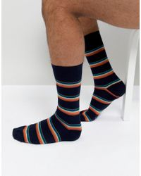 Paul Smith - Blue Artist Block Stripe Socks In Navy for Men - Lyst