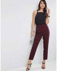 ASOS - Green Clean High Waisted Slim Pants - Lyst