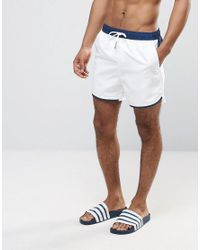 Another Influence - Blue Colour Block Curved Hem Swim Shorts for Men - Lyst