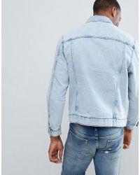 Bershka - Blue Denim Jacket In Acid Wash for Men - Lyst