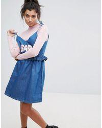 Lazy Oaf | Blue Bad Babydoll Denim Dress | Lyst