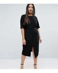 ASOS - Black Smart Midi Dress - Lyst