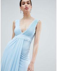 ASOS - Blue Design Lace Trim Maxi Dress - Lyst
