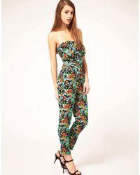 ASOS | Green Jumpsuit In Tropical Print | Lyst