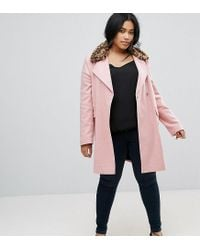 ASOS - Pink Coat With Leopard Print Collar - Lyst