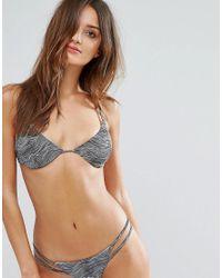 RVCA - Brown Hi Tide Print Triangle Bikini Top - Lyst