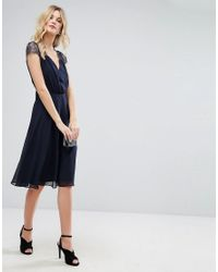 ASOS - Blue Kate Lace Midi Dress - Lyst