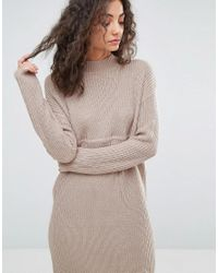 ASOS - Pink Chunky Knit Dress In Rib With High Neck - Lyst