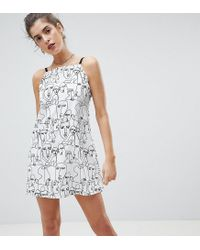 Reclaimed (vintage) - White Inspired Face Print Square Neck Cami Mini Dress - Lyst