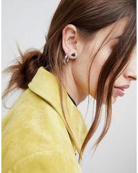 ASOS - Metallic Pack Of 2 Stone Stud And Hoop Earrings - Lyst