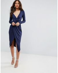 ASOS - Blue Long Sleeve Wrap Front Midi Dress - Lyst